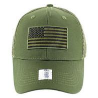 VM9003 USA Flag Mesh Trucker Cap (Solid Olive)