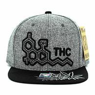 SM046 THC Marijuana Snapback (Charcoal & Black)