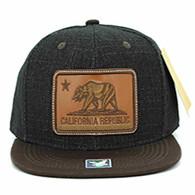 SM054 California Republic Snapback (Black & Brown)