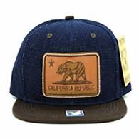 SM054 California Republic Snapback (Navy & Brown)