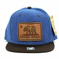 SM054 California Republic Snapback (Blue & Brown)