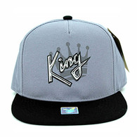 SM038 King Snapback Cap (Grey & Black)