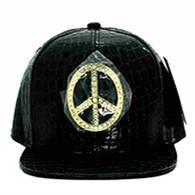 SM057 Peace Snapback (Solid Black) - Rhinestone Metal