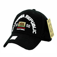 VM029 Cali Bear Cotton Velcro Cap (Solid Black)