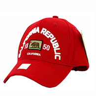 VM029 Cali Bear Cotton Velcro Cap (Solid Red)
