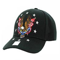 VM086 American USA Eagle Velcro Cap (Solid Black)