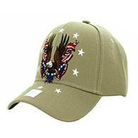 VM086 American USA Eagle Velcro Cap (Solid Khaki)