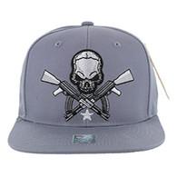 SM270 Skull AK Cotton Snapback Cap (Solid Grey)