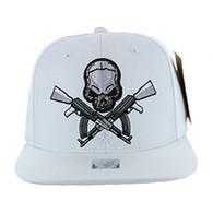 SM270 Skull AK Cotton Snapback Cap (Solid White)