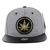 SM039 Marijuana Snapback Cap (Grey & Black)