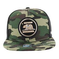 SM062 Cali Bear Snapback Cap (Military Camo & Black)