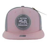 SM062 Cali Bear Snapback Cap (Light Pink & Grey)