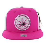 SM062 Marijuana Snapback Cap (Hot Pink & White)