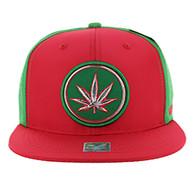 SM062 Marijuana Snapback Cap (Red & Kelly Green)