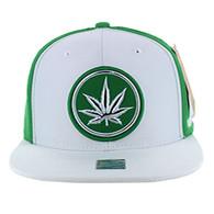 SM062 Marijuana Snapback Cap (White & Kelly Green)