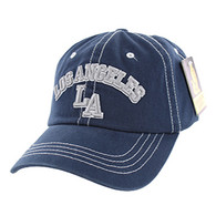 BM001  Los Angeles Washed Cotton Cap (Solid Navy)