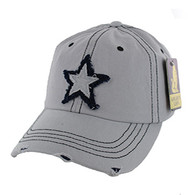 BM001 Big Star Washed Cotton Cap (Solid Grey)