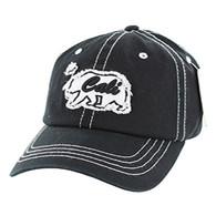 BM001 Cali Bear Washed Cotton Cap (Solid Black)