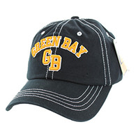 BM001 Green Bay Washed Cotton Cap (Solid Black)