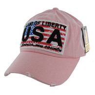 BM001 USA Flag Washed Cotton Cap (Solid Pink)