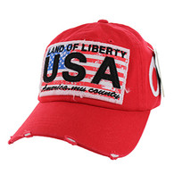 BM001 USA Flag Washed Cotton Cap (Solid Red)