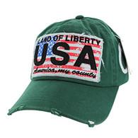 BM001 USA Flag Washed Cotton Cap (Solid Dark Green)