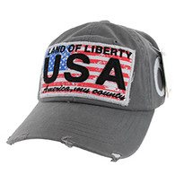 BM001 USA Flag Washed Cotton Cap (Solid Grey)