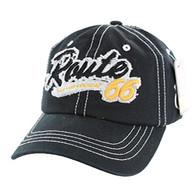 BM001 Route 66 Washed Cotton Cap (Solid Black)