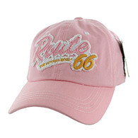 BM001 Route 66 Washed Cotton Cap (Solid Pink)
