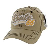 BM001 Route 66 Washed Cotton Cap (Solid Khaki)