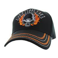 VM414 Ride Til Die Skull Flames Velcro Cap (Solid Black)