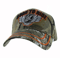 VM420 Born to Ride Eagle Velcro Cap (Solid Hunting Camo)