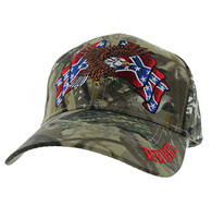 VM444 Rebel Flag Eagle Velcro Cap (Solid Hunting Camo)