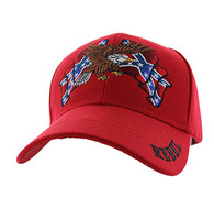 VM444 Rebel Flag Eagle Velcro Cap (Solid Red)