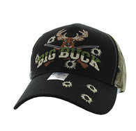 VM555 Big Buck Velcro Cap (Black & Hunting Camo)