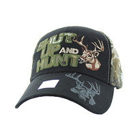 VM991 Shut Up and Hunt Velcro Cap (Black & Hunting Camo)