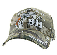 VM043 We Don't Dial 911 Velcro Cap (Solid Hunting Camo)