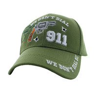VM043 We Don't Dial 911 Velcro Cap (Solid Olive)