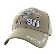VM043 We Don't Dial 911 Velcro Cap (Solid Khaki)