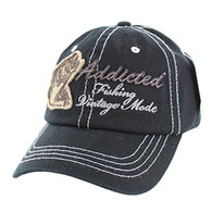 BM001 Fishing Bass Washed Cotton Cap (Solid Black)