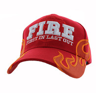 VM079 Fire, First In Last Out Velcro Cap (Solid Red)