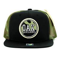 SM062 Oakland Snapback Trucker Mesh Cap (Black & Military Camo)