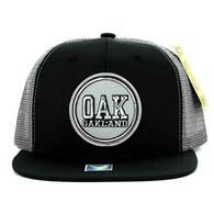 SM062 Oakland Snapback Trucker Mesh Cap (Black & Grey)