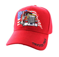 VM304 American USA Truck Velcro Cap (Solid Red)
