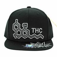 SM046 THC Marijuana Snapback (Black & Black)