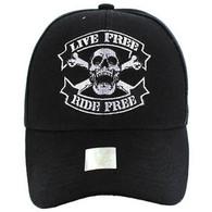 VM084 Skull Baseball Velcro Hat Cap (Solid Black)