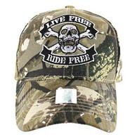 VM084 Skull Baseball Velcro Hat Cap (Solid Hunting Camo)