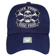 VM084 Skull Baseball Velcro Hat Cap (Solid Navy)