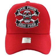 VM084 Skull Baseball Velcro Hat Cap (Solid Red)
