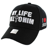 VM077 My Life All To Him Jesus Christian Velcro Cap (Solid Black)